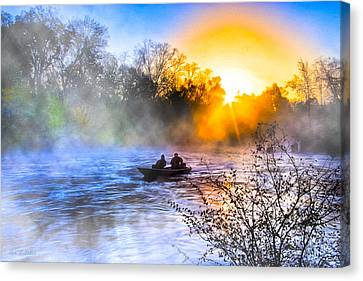 Fishing At Sunrise On The Flint River Canvas Print by Mark E Tisdale
