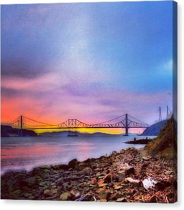 Fishing At Sunset Canvas Print by Brian Maloney