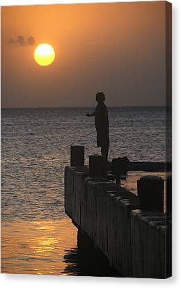 Canvas Print featuring the photograph Fishing At Sunset by Paul Miller