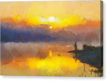Fishing At Sunset Canvas Print by Yury Malkov