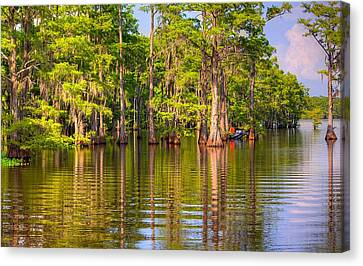 Fishing At The Bayou Canvas Print by Ester  Rogers