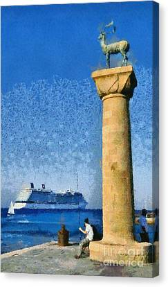 Fishing At The Entrance Of Mandraki Port Canvas Print by George Atsametakis