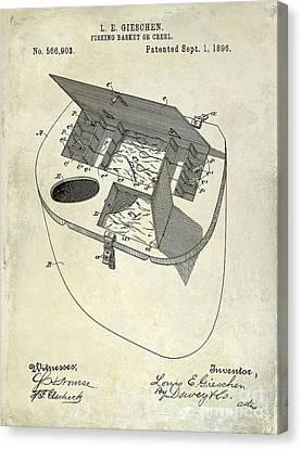 Fishing Basket Or Creel Patent Drawing Canvas Print