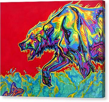 Fishing Bear Canvas Print by Derrick Higgins