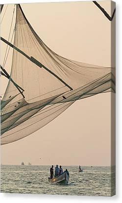 Fishing Boat And Chinese Fishing Nets Canvas Print by Peter Adams