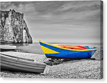 Fishing Boat At Etretat Canvas Print by Delphimages Photo Creations