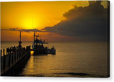 Fishing Boat At Sunset Canvas Print by Phil Abrams