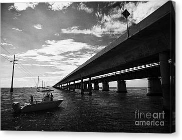 Fishing Boat Beneath New Seven Mile Bridge In Marathon In The Florida Keys Canvas Print by Joe Fox