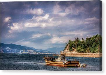 Floating Torii Canvas Print - Fishing Boat by Gary Fossaceca