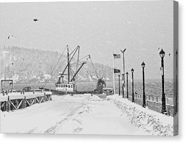 Fishing Boat In Snowstorm Bar Harbor Maine Canvas Print by Keith Webber Jr
