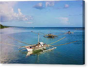 Fishing Boat In The Water, Bohol Canvas Print by Keren Su