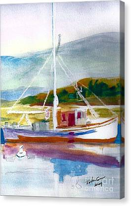 Fishing Boat On Puget Sound Canvas Print by Ruthann  Hanson
