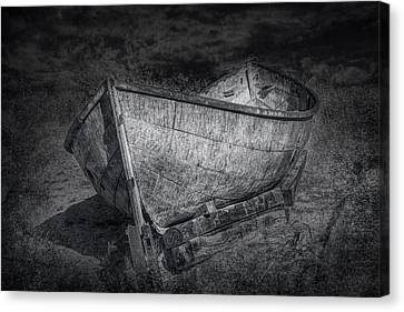 Fishing Boat On Shore In Black And White Canvas Print by Randall Nyhof