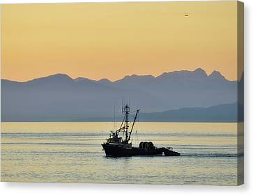 Fishing Boat Seen At Sunset Canvas Print by Matt Freedman