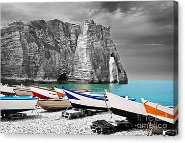 Fishing Boats At Etretat Canvas Print by Delphimages Photo Creations
