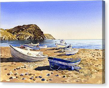 Fishing Boats At Las Negras Canvas Print by Margaret Merry