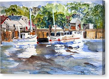 Canvas Print featuring the painting Fishing Boats At Rock Harbor by Michael Helfen