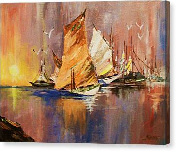 Canvas Print featuring the painting Fishing Boats At Sunup by Al Brown