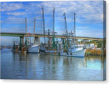Fishing Boats At The Dock Canvas Print by Donald Williams