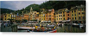 Fishing Boats At The Harbor, Portofino Canvas Print by Panoramic Images