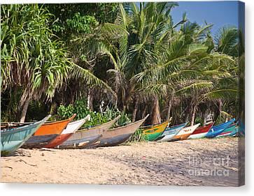 Fishing Boats B Mirissa Beach Canvas Print by Liz Leyden