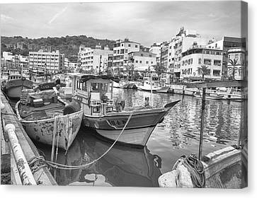 Fishing Boats B W Canvas Print