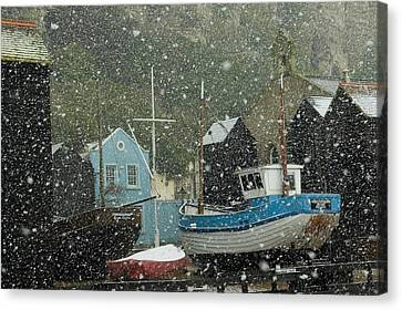 Fishing Boats Covered With Snow In Old Canvas Print by Chris Parker