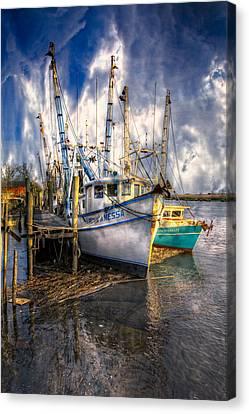 Fishing Boats Canvas Print by Debra and Dave Vanderlaan