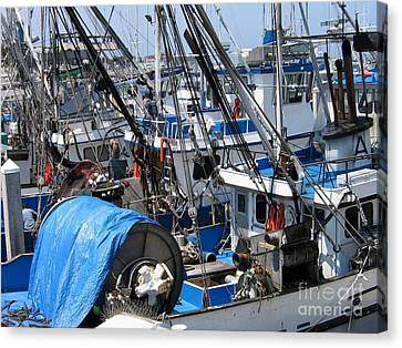 Fishing Boats In Monterey Harbor Canvas Print by James B Toy