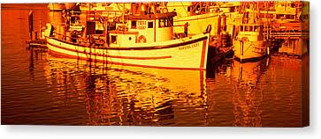 Fishing Boats In The Bay, Morro Bay Canvas Print