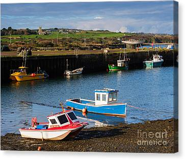 Fishing Boats In The Harbour At Hayle Canvas Print by Louise Heusinkveld