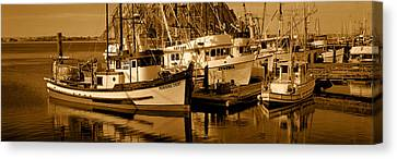 Fishing Boats In The Sea, Morro Bay Canvas Print