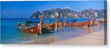 Fishing Boats In The Sea, Phi Phi Canvas Print by Panoramic Images