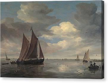 Fishing Boats On A River Canvas Print by Salomon van Ruysdael