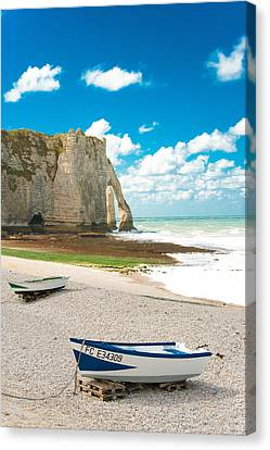 Fishing Boats On The Beach At Etretat Canvas Print by Loriental Photography