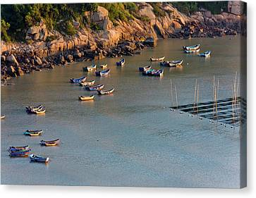 China Beach Canvas Print - Fishing Boats On The Muddy Beach by Keren Su