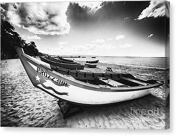 Fishing Boats On The Shore Canvas Print by George Oze