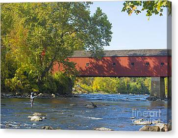 Fishing By The Covered Bridge Canvas Print