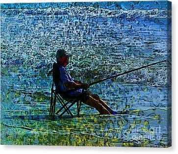Fishing Canvas Print by Claire Bull