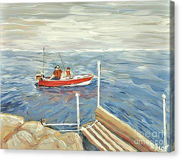 Fishing Day On Georgian Bay Canvas Print by Reb Frost