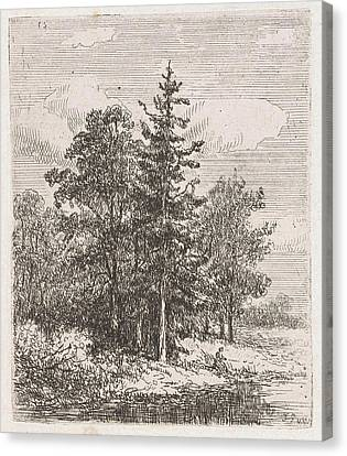 Fishing For A Group Of Trees, Johannes Pieter Van Wisselingh Canvas Print
