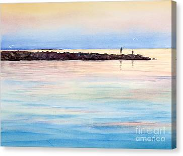 Fishing From The Jetty At Sunset Canvas Print by Michelle Wiarda