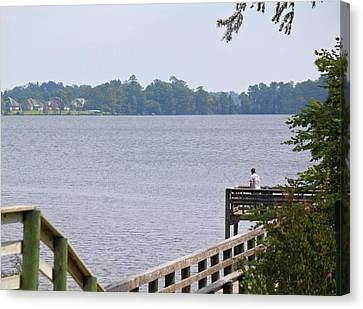 Fishing From The Pier Canvas Print by Carolyn Ricks