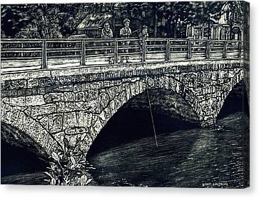 Fishing From The Stone Arched Bridge Canvas Print by Robert Goudreau