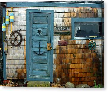 Fishing Hut At Rockport Maritime Canvas Print by Jon Holiday