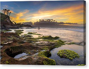 Two Waves Canvas Print - Fishing In Hawaii by Francesco Emanuele Carucci