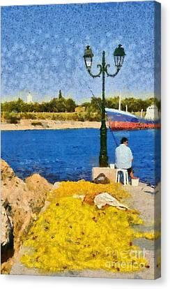 Fishing In Spetses Island Canvas Print by George Atsametakis