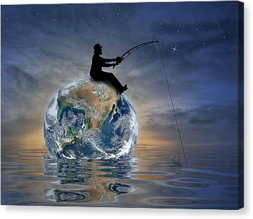 Canvas Print featuring the digital art Fishing Is My World by Nina Bradica