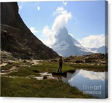 Fishing Lake Matterhorn Canvas Print by Juan Romagosa