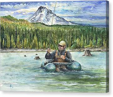 Canvas Print featuring the painting Fishing Laurance by Arthur Fix